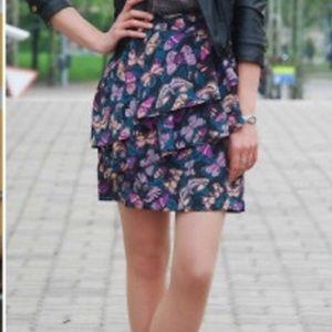 H&M Butterfly Ruffled Print Skirt Size 10–A4